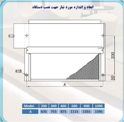 ابعاد فن کویل سقفی توکار